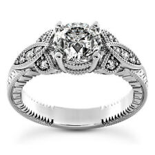 Halo Antique 1.08 Carat SI1/D Round Diamond Engagement Ring 14K White Gold