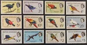 "British Honduras 1962, ""Birds"" set of 12x stamps mh"