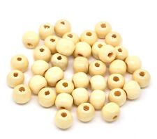 200 Stück runde Holzperlen naturfarben 9x10mm NEU Schmuck basteln Holz Perlen