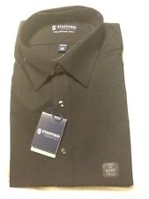 NWT Stafford The Everyday Dress Shirt Black Fitted 17 36/37 $36