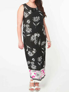 size 14 £48 New Evans BLACK Sleeveless Border Print Shift Elastic Dress Maxi