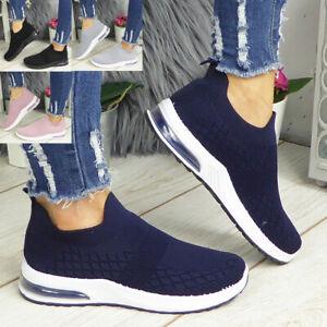 Womens Ladies Sock Trainers Slip On Jogging Plimsole Sneakers Pumps Shoes Sizes