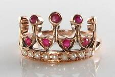 REGAL 9K 9CT ROSE GOLD VINTAGE INSP AAA RUBY & PEARL CROWN RING FREE RESIZE