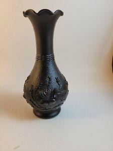 """Vintage Imperial Glass Black Bud Vase Raised Rose Pattern Mid Century 6 1/4"""""""