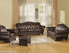 Brown Traditional Sofa, LoveSeat & Chair Ottoman Tufted Leather 4 pc Set