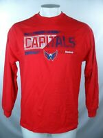 Washington Capitals Men's Red Cotton Reebok L/S Screen Print T-Shirt NHL M L XL