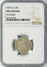1875-CC Seated Liberty Silver 20c Piece NGC Fine Details - Cleaned