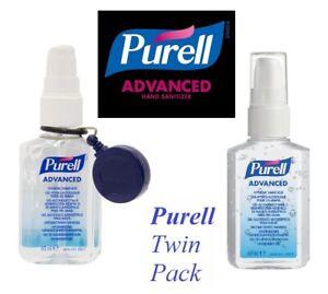 2 x Purell ADVANCED Hygienic Hand Rub Spray 60ml Sanitiser + Belt Clip Reel
