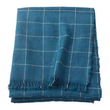 IKEA Throw Rug Blanket Check BLUE Check Stripe Soft Sofa Bed Knee Winter Cover