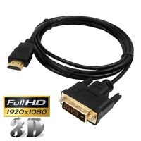 HDMI to DVI-D Converter Cable Adapter Male to Male 1080P Video Cord For HDTV PS4