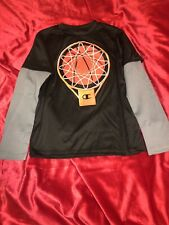 Champion Performance Kids Shirt 6 Basketball Black Orange Gray Long Sleeve Euc