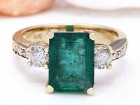 4.20 Carat Natural Emerald 14K Solid Yellow Gold Diamond Ring