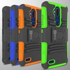 Hybrid Kickstand Case & Holster For ZTE Blade Max 3 / Max Blue Belt Clip Cover