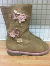 Young Dimension Girls Floral Lined Faux Leather Boots Size 9/27 Light Brown