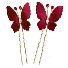 2 épingles pics cheveux chignon mariage mariée  papillon rouge foncé doré strass