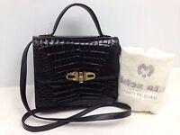 GENUINE CROCODILE SKIN Black Patent Leather Hand Shoulder Bag 2Way 6B230010#