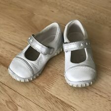 ECCO Toddler Girl Mary Jane White Leather First Shoes Size 21 (EU)