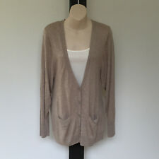 'MAX' EC SIZE 'M' OATMEAL LONG SLEEVE BUTTON FRONT CARDIGAN WITH LOWER POCKETS