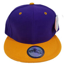 Two Tone Plain Purple/Gold Polyester Snapback Cap