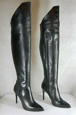 SUPER SEXY!!! DENOUEE Stiletto HIGH HEEL BLACK LEATHER OVER THE KNEE BOOTS  7