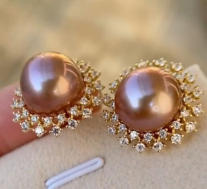 Charming  12 mm   Natural  round  purple Pearl earrings