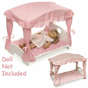 New Wooden Arched Canopy Bed #BBT1845 White/Pink Gingham