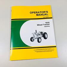 Operators Owners Manual For John Deere 1010 Gasoline Wheel Tractor Book