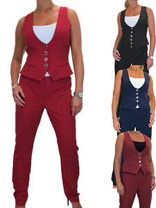 Ladies Smart Waistcoat and Trouser Suit Washable Evening Work Office 10-20