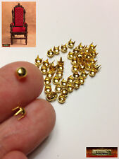 M01525-Gold MOREZMORE 50 Studs 4mm Spikes Round Dome Tacks Miniature A60