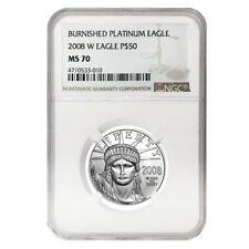 2008 W 1/2 oz $50 Burnished Platinum American Eagle Ngc Ms 70