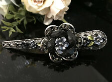 Beautiful Antique Tone Rhinestone acrylic flower Alligator hair clip #4617