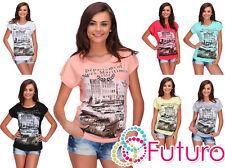 Mujer Verano Camiseta Alpes Estampado Manga Corta Top Casual Talla 8-14 FB272