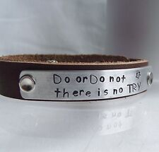 "Handmade Star Wars ""Do or Do not..."" Real Leather Statement Cuff Bangle Yoda"