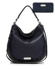 NWT MARC by MARC JACOBS New Q Hillier Hobo Bag & Wallet SET INK BLUE AUTHENTIC