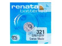 Renata 321 Pila Batteria Orologio Mercury Free Silver Oxide SR616SW Swiss 1.55V