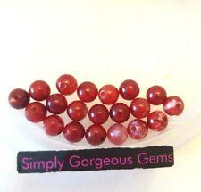 20 Stunning Round Cherry Red Fire Agate Gemstone Beads - 6 mm