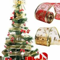 2Yard Christmas Printing Ribbon DIY Handmade Home Christmas Tree Decor Craft New
