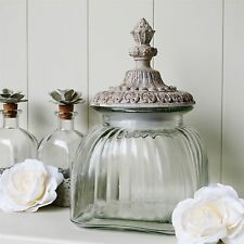 Glass Storage Jar Sweets Biscuit Toiletries With Stone Effect Lid ORI8146