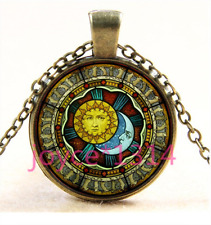 Vintage sun and moon Cabochon bronze Glass Chain Pendant Necklace TS-3419
