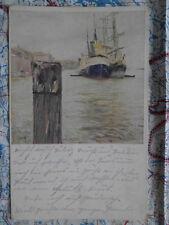 Hafen Meer Schiffe Steg Gemälde Kunstwerk Postkarte Ansichtskarte 3043