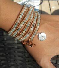 Life Silver Multilayer Leather Bohemian Beach Amazonite Wrap Bracelet ♡ Tree of
