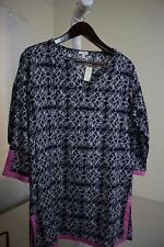 Talbots 100% Cotton Multi-Colored Slit Sides 3/4 Sleeve Long Top Size - Medium