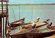 Suriname Fishermen Boats Pier Harbor View Vintage Postcard J67958