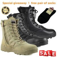 Men's Leather Military Combat Army Tactical Boots SWAT Boots Duty Work Shoes New