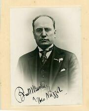 Benito Mussolini Autographed Signed Inscribed Photo Zaccaria BAS BECKETT LOA
