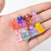 23x11mm Glitter Decor Mini Resin Bears Cute Jewellery Pendant Charms 20-pack