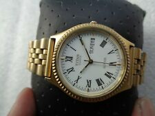 RARE CLASSIC TITAN ROYALE ROMAN WHITE DIAL GOLD PLATED MEN'S QUARTZ WRISTWATCH