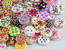 80 X 15mm Mixed Wooden Buttons - for Scrapbooking Crafts Sewing Cards