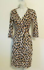Diane von Furstenberg New Julian two Animal Dots Golden wrap 0 leopard dress