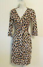 Diane von Furstenberg New Julian two Animal Dots Golden wrap 0 leopard dress